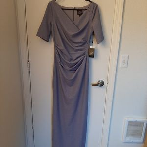 Gorgeous Adriana Papell long gray holiday dress
